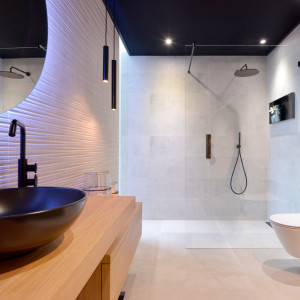 Nieuwe badkamer opstelling - stoer zwart